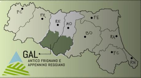 Cartina dell'Emilia Romagna con evidenziate le zone appenniniche di Reggio Emilia e Modena